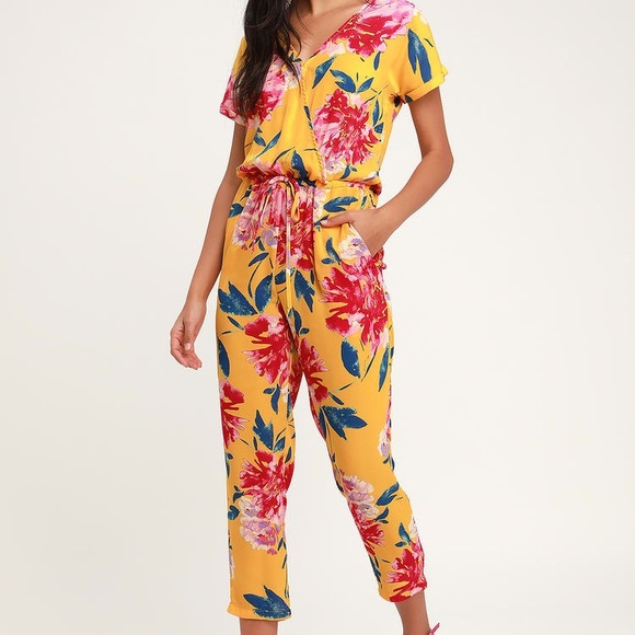 Successful Mustard Yellow Floral Print Jumpsuit